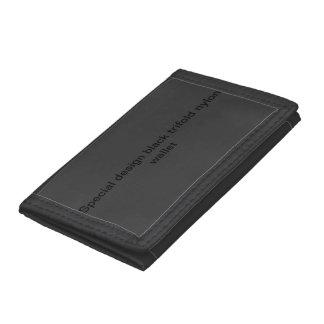 Black trifold nylon wallet