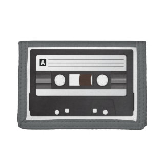 Black TriFold Nylon Wallet, A Side Casette Tri-fold Wallet