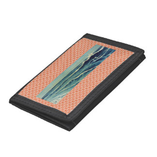 Black TriFold Nylon Wallet with Japanese Wave