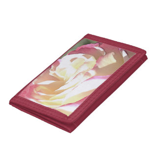 Black TriFold Nylon Wallet with Rose