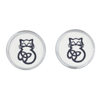 Black Trinity Knot Celtic Cat Cufflinks Silver Finish Cufflinks