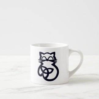Black Trinity Knot Celtic Cat Espresso Mug