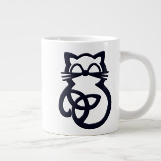 Black Trinity Knot Celtic Cat Jumbo Mug