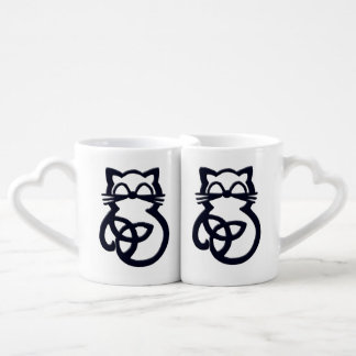 Black Trinity Knot Celtic Cat Mug Set