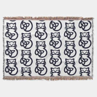Black Trinity Knot Celtic Cat Throw Blanket