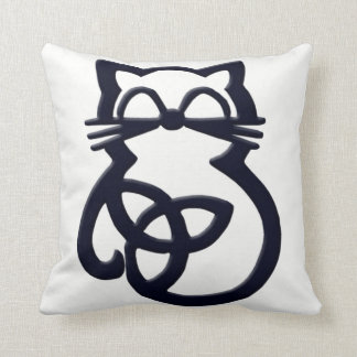 Black Trinity Knot Celtic Cat Throw Pillow