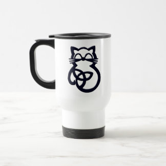 Black Trinity Knot Celtic Cat Travel Mug