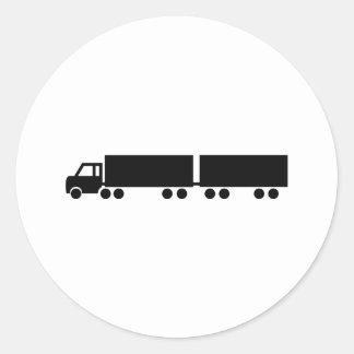black truck trailer icon round sticker