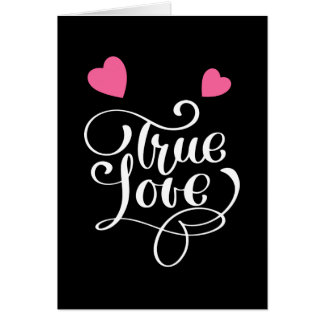Black True Love Pink Hearts Wedding Bridal Shower Card