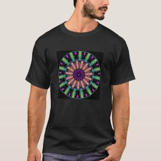 Black tshirt. Teal mandala. T-Shirt