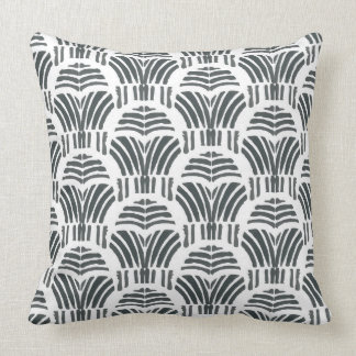 Black tulips hand print throw pillow