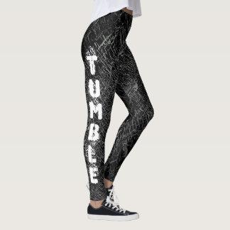 Black Tumbling gymnastics design pattern leggings