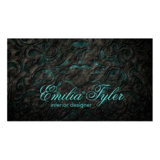 Black & Turquiose Ornament Interior Designer Card Business Card