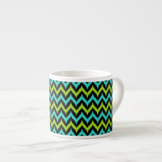 Black, Turquoise and Green Zigzag Ikat Pattern Espresso Cup