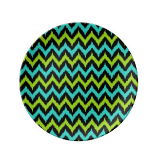 Black, Turquoise and Green Zigzag Ikat Pattern Plate
