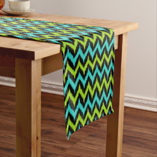 Black, Turquoise and Green Zigzag Ikat Pattern Short Table Runner