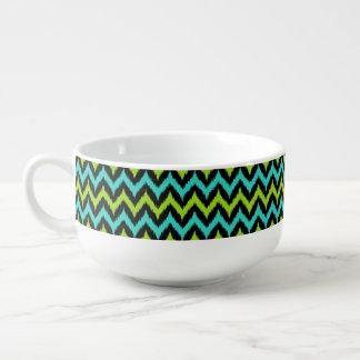 Black, Turquoise and Green Zigzag Ikat Pattern Soup Mug