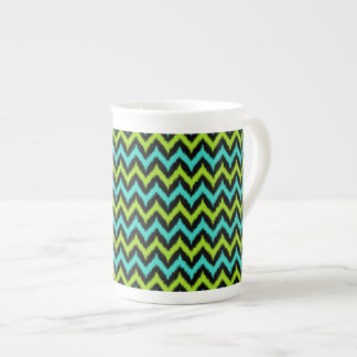Black, Turquoise and Green Zigzag Ikat Pattern Tea Cup