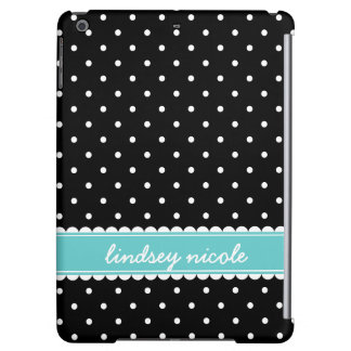 Black & Turquoise Cute Polka Dots Custom Monogram