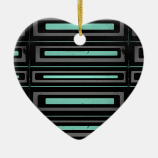 Black turquoise, gray distressed geometric pattern ceramic heart decoration