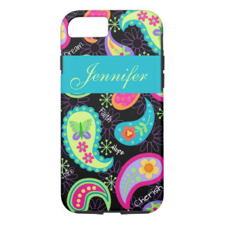 Black Turquoise Modern Paisley Name Personalised iPhone 7 Case