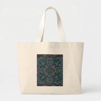 Black turquoise night large tote bag
