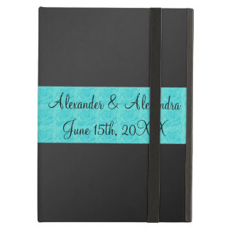 Black turquoise roses wedding favors iPad air covers