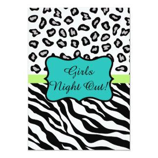 Black Turquoise Zebra Leopard Skin Girls Night Out 13 Cm X 18 Cm Invitation Card
