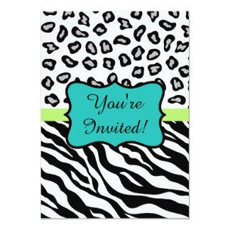 "Black Turquoise Zebra Leopard Skin Invitation 5"" X 7"" Invitation Card"
