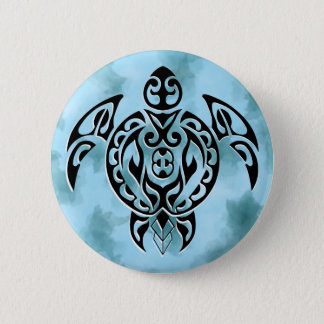 Black turtle 3 in blue 6 cm round badge