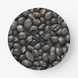Black turtle bean round clock