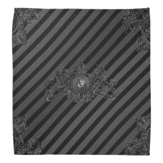 Black Tux Blk Pewter Emblem Monogram Lapel Pocket Bandana