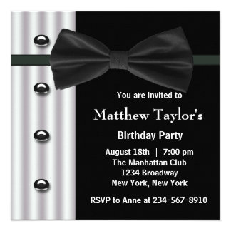 Black Tuxedo Bow Tie Mens Birthday Party 13 Cm X 13 Cm Square Invitation Card