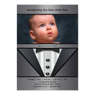 Black Tuxedo Boy Photo Birth Announcement