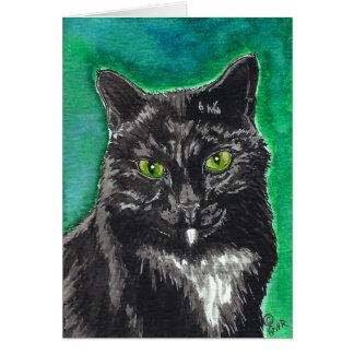 Black Tuxedo Cat Blank Card