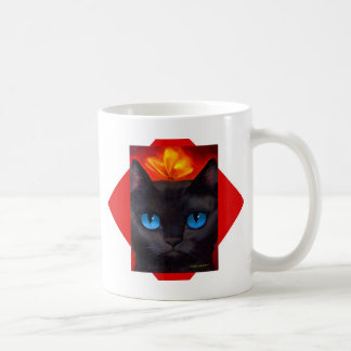 Black Tuxedo Cat Butterfly Painting - Multi Coffee Mug
