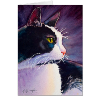 Black Tuxedo Cat in Stormy Mood Card