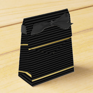 Black Tuxedo Charcoal Grey Baby Stripe Gold Favour Box