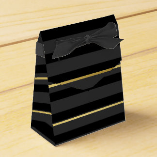 Black Tuxedo Charcoal Grey Wide Stripe Gold Formal Favour Box