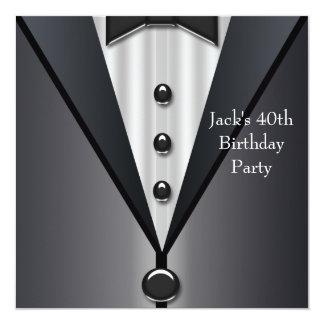Black Tuxedo Mans 40th Birthday Party 13 Cm X 13 Cm Square Invitation Card