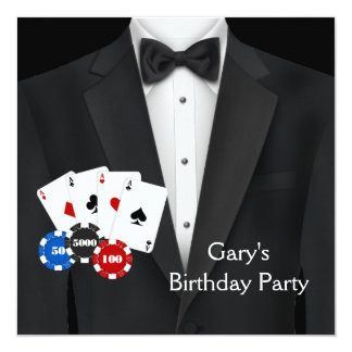 Black Tuxedo Mans Poker Birthday Party 13 Cm X 13 Cm Square Invitation Card