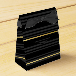 Black Tuxedo Multi Stripe Charcoal Grey Gold Favour Box