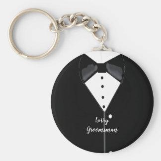 Black Tuxedo Personalized Groomsman Key Ring