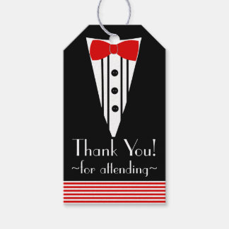 Black Tuxedo Red Bow Tie Thank You- Gift Tags