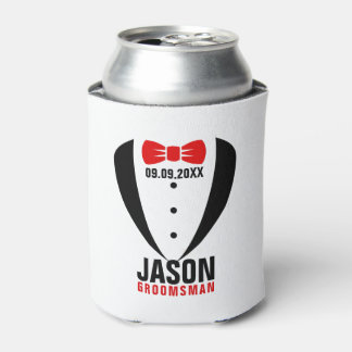 Black Tuxedo Red BowTie & Groomsman Text Can Cooler
