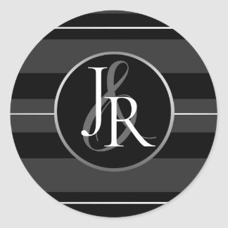 Black Tuxedo Stripe Crystal Optional Monogram Classic Round Sticker