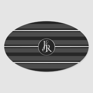 Black Tuxedo Stripe Crystal Optional Monogram Oval Sticker