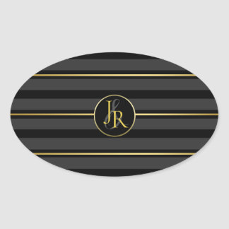 Black Tuxedo Stripe Gold Optional Monogram Oval Sticker