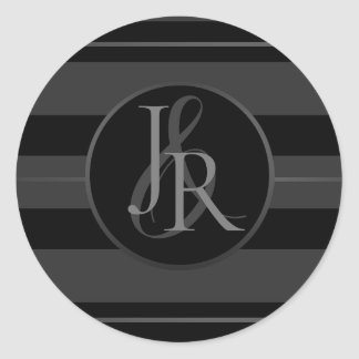 Black Tuxedo Stripe Pewter Optional Monogram Classic Round Sticker