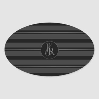 Black Tuxedo Stripe Pewter Optional Monogram Oval Sticker